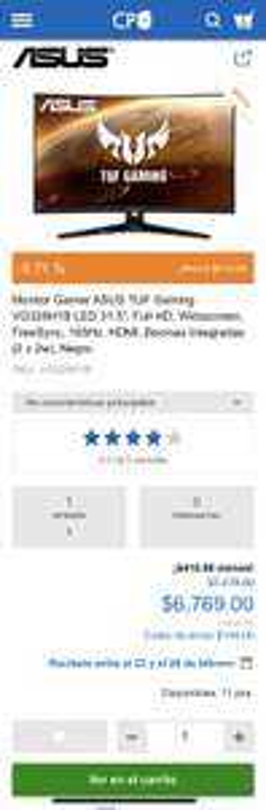 "CyberPuerta: Monitor Gamer ASUS TUF Gaming LED 31.5"", Full HD, Widescreen, FreeSync, 165Hz, HDMI, Bocinas Integradas (2 x 2w), Negro"