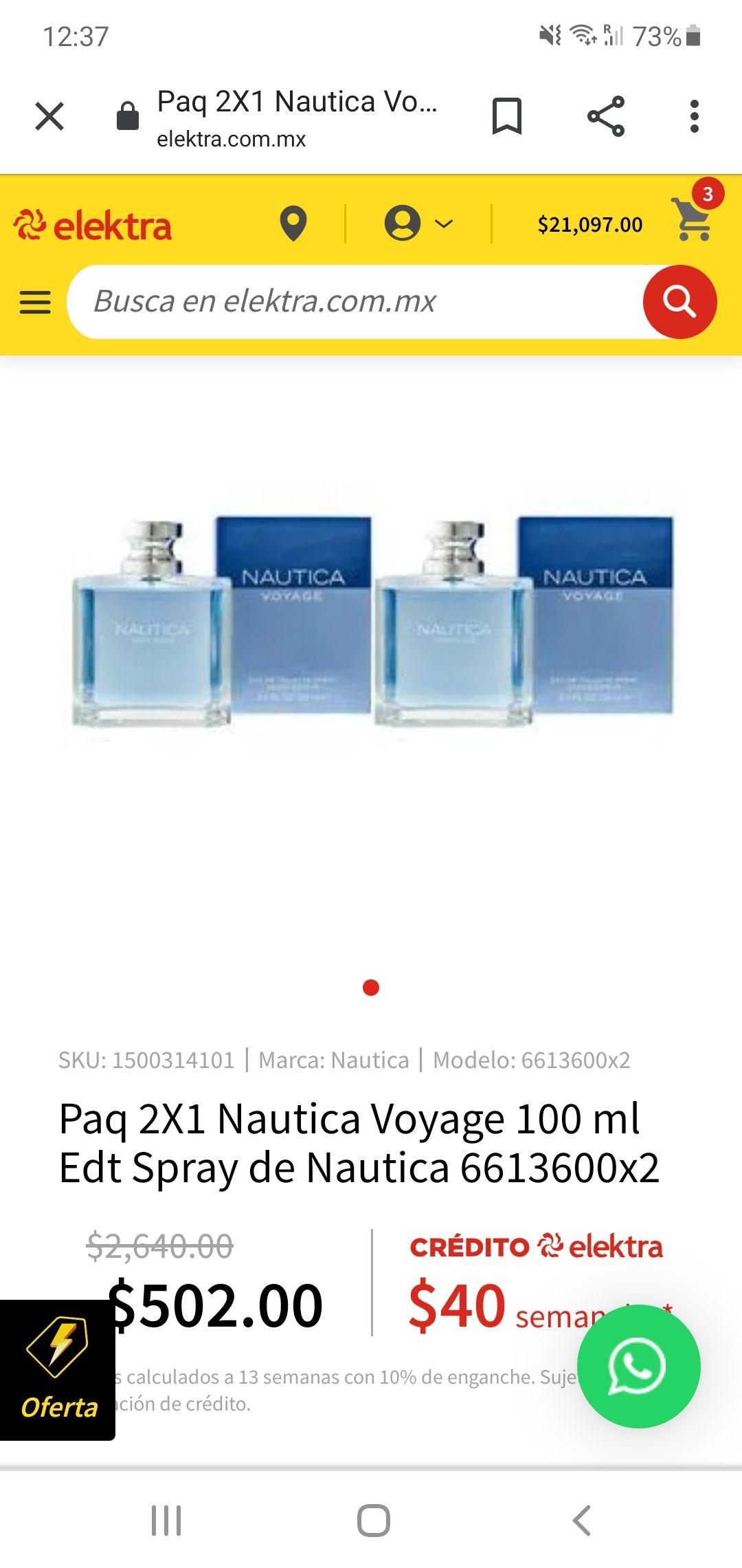 Elektra paquete 2x1 nautica voyage 100ml c/u