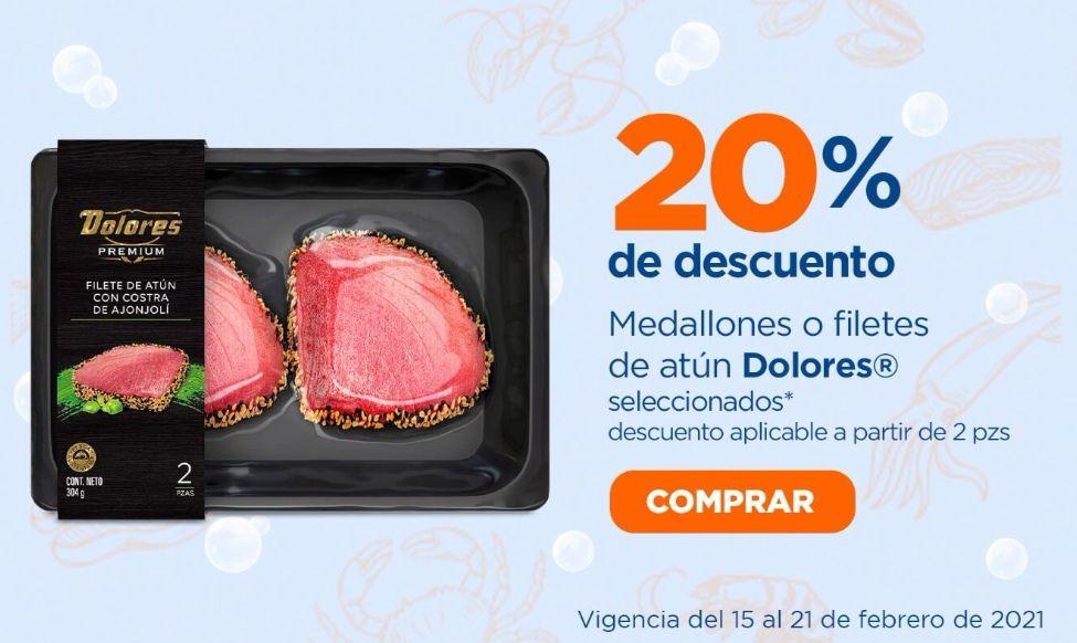 Chedraui: 20% de descuento en la compra de 2 ó más medallones o filetes de atún Dolores