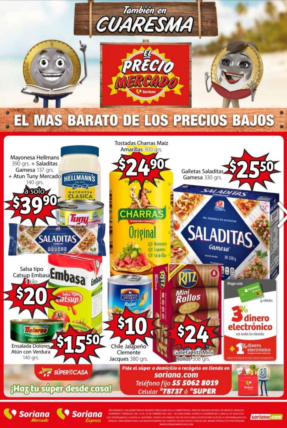 Soriana Mercado y Express: Folleto de Ofertas al Jueves 25 de Febrero