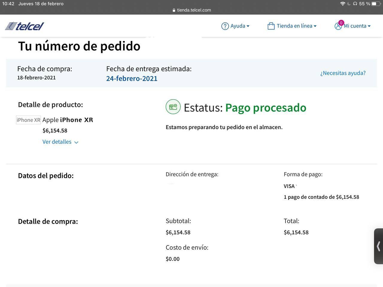 TELCEL: iPhone XR 128 con renovación plan Platino $699