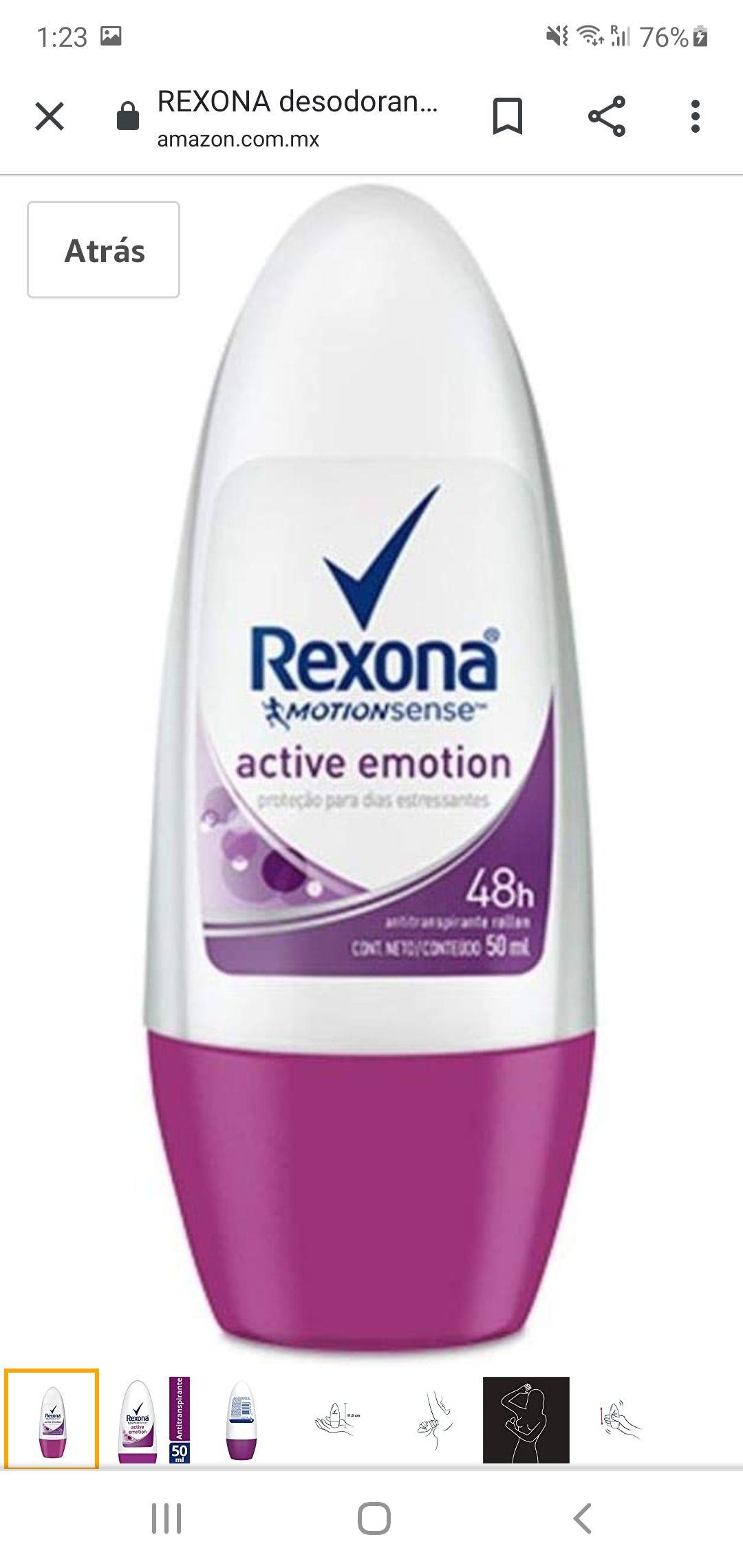 Amazon desodorante rexona active emotion 50ml ( con planea y ahorra )
