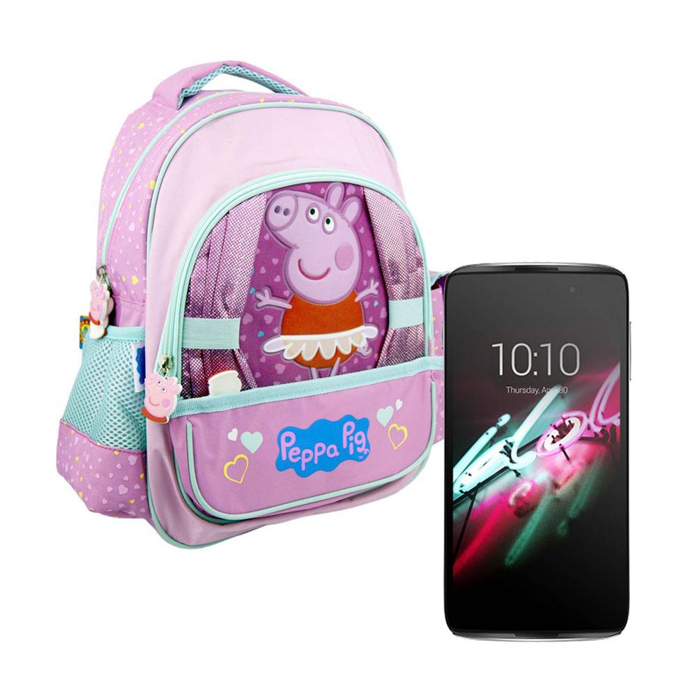 Walmart en línea: Smartphone Alcatel Idol 3 8 GB Plateado Desbloqueado más mochila Kinder Peppa Pig