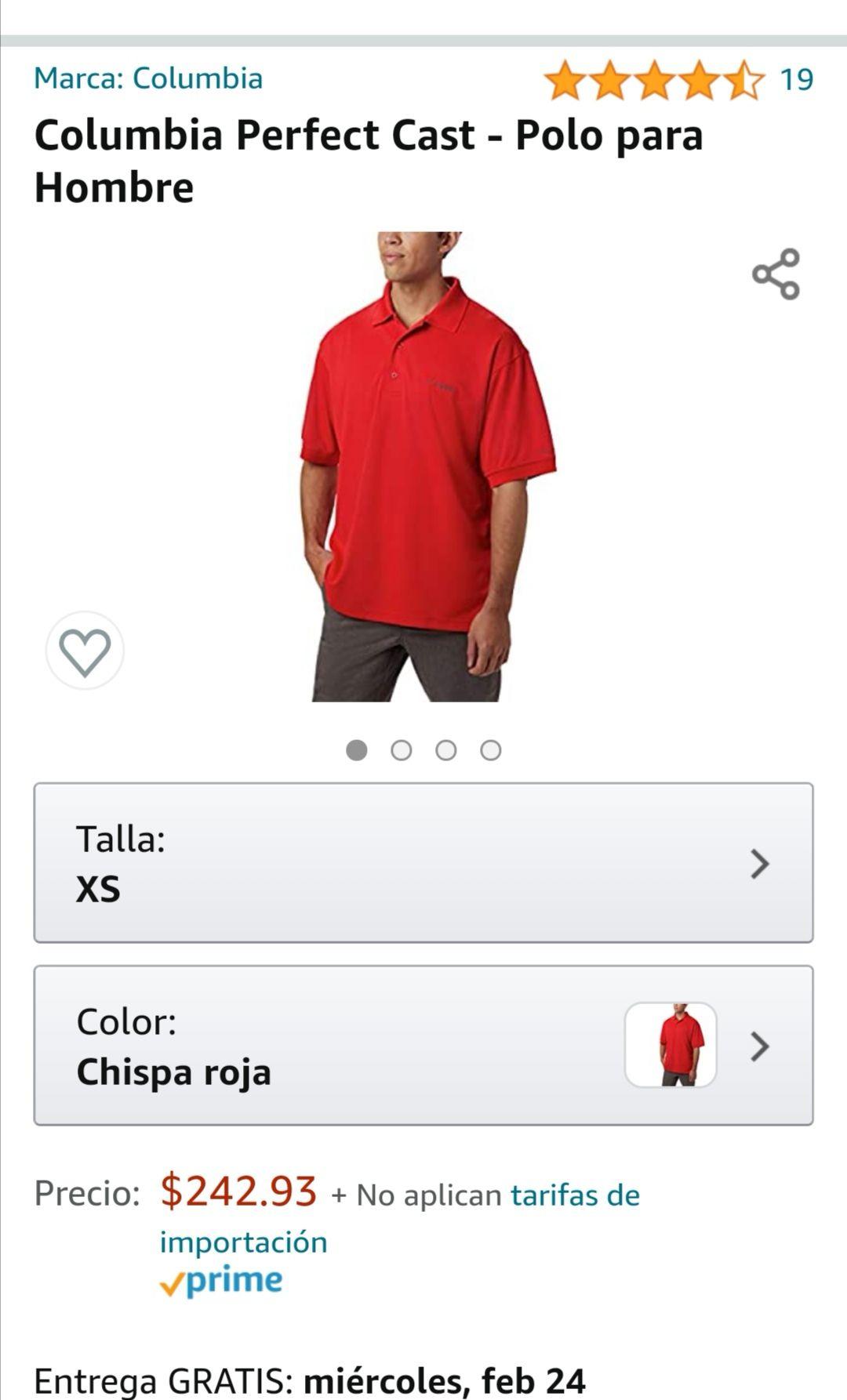 Amazon: Camisa polo marca columbia talle XS