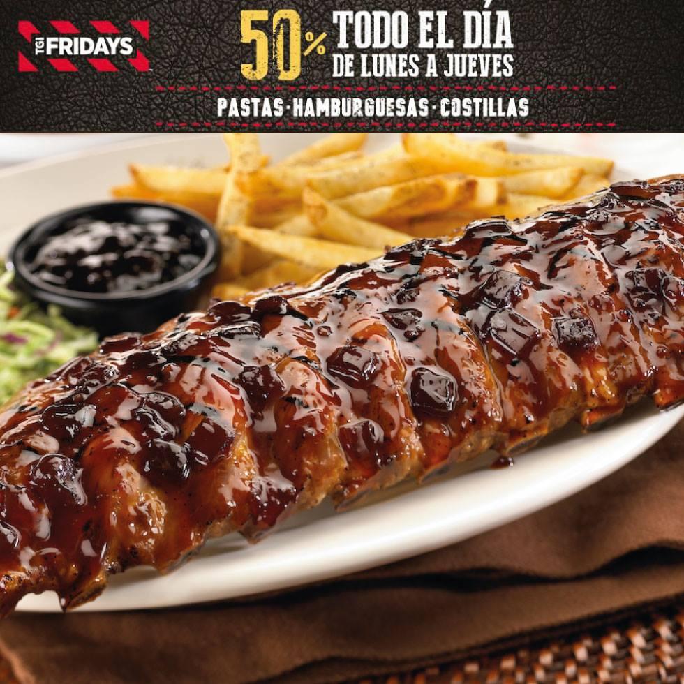 TGI Fridays: 50% descuento pastas, costillas y hamburguesas