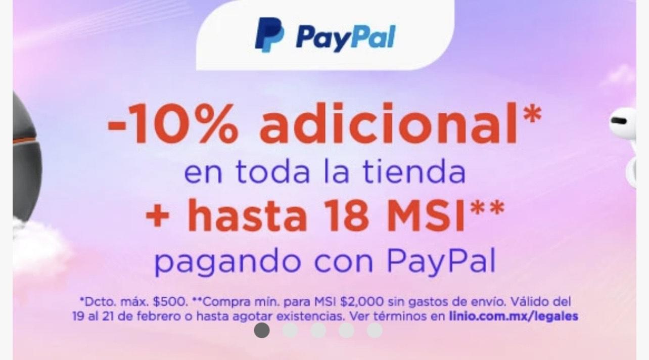 Linio: 10% de descuento adicional con PayPal