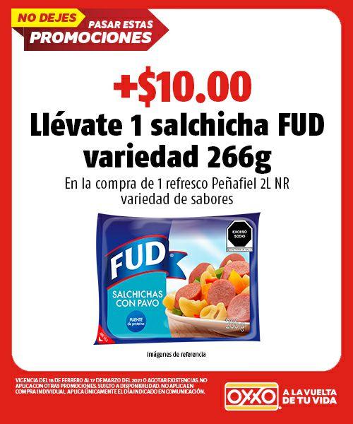 OXXO: Compra peñafiel 2L y más $10 paquete de salchichas fud