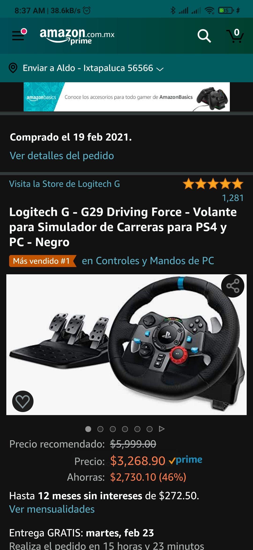 Amazon Logitech G - G29 Driving Force - Volante para Simulador de Carreras para PS4 y PC - Negro