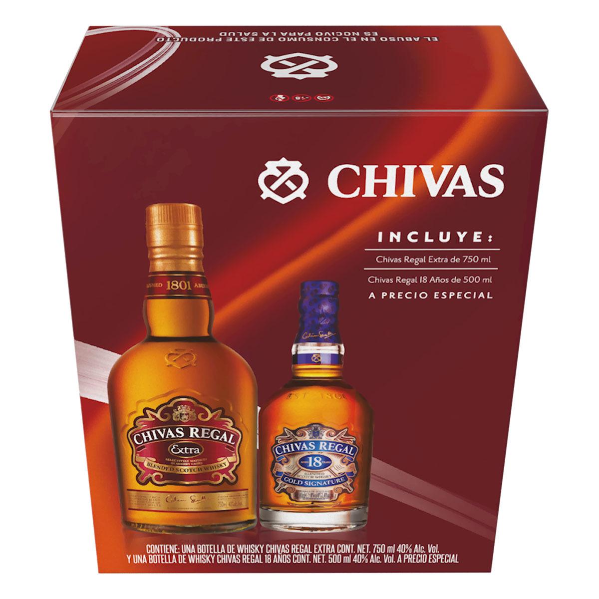 Chedraui: Chivas Regal extra + chivas +18 500 ml