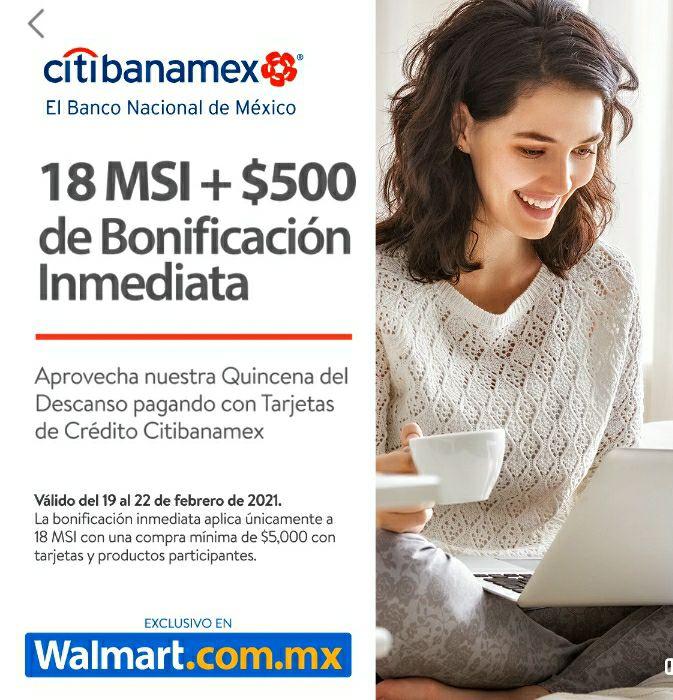 Banamex 500 bonificación en Walmart compra mínima $5,000