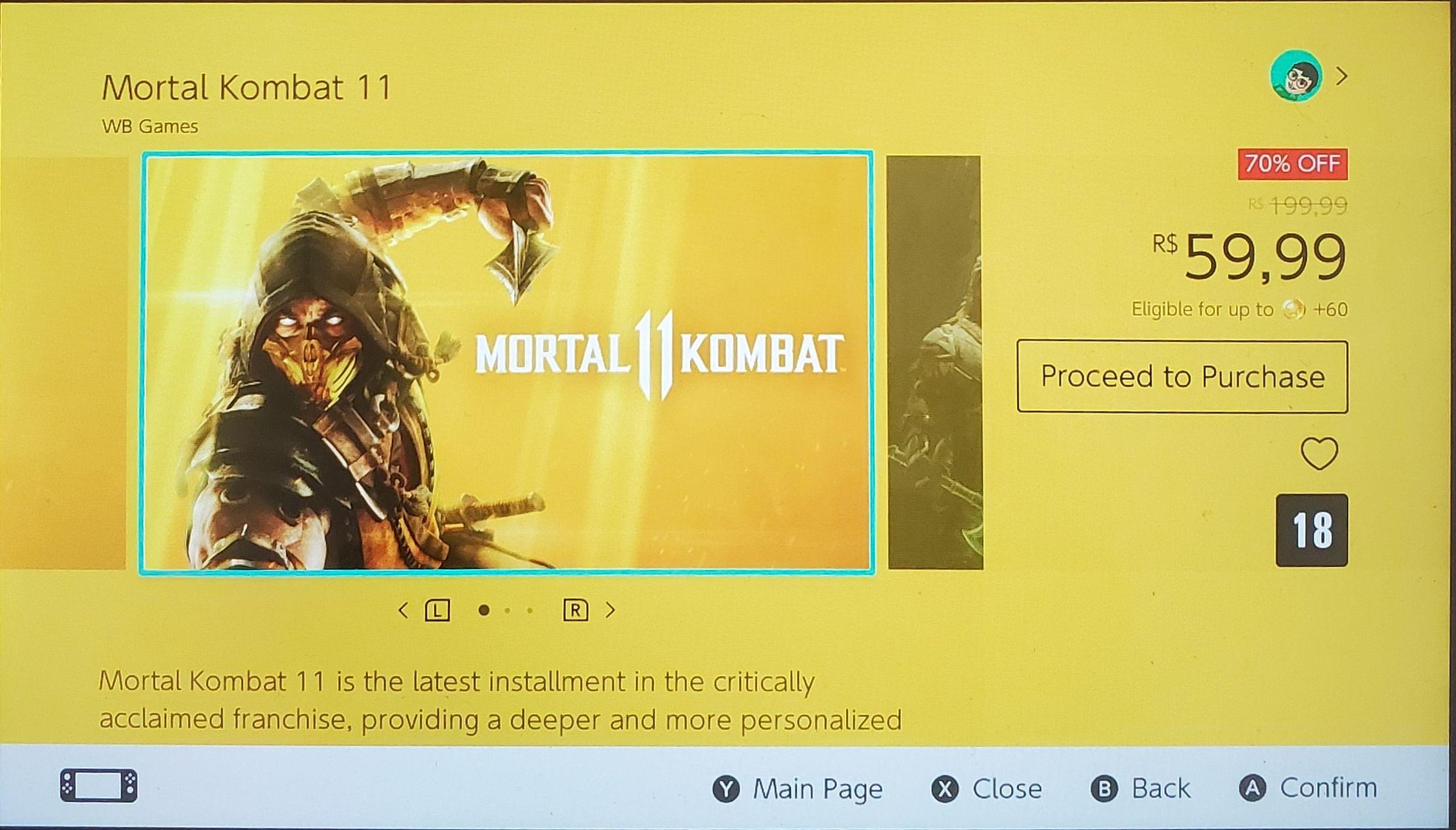Nintendo Mortal Kombat 11 Eshop de Brasil