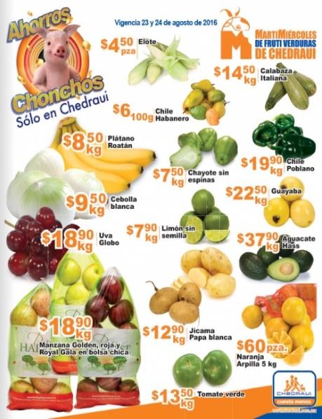 Chedraui: Folleto MartiMiércoles de FrutiVerduras 23 y 24 de Agosto: Plátano $8.90, Cebolla $9.50, Uva Globo $18.90 y Manzanas en Bolsa $18.90 kg.