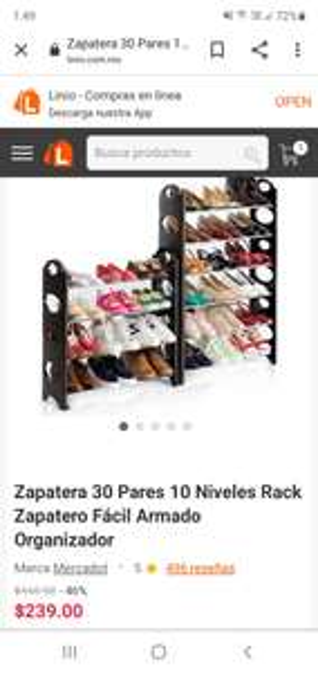 Linio zapatera 30 pares 10 niveles rack