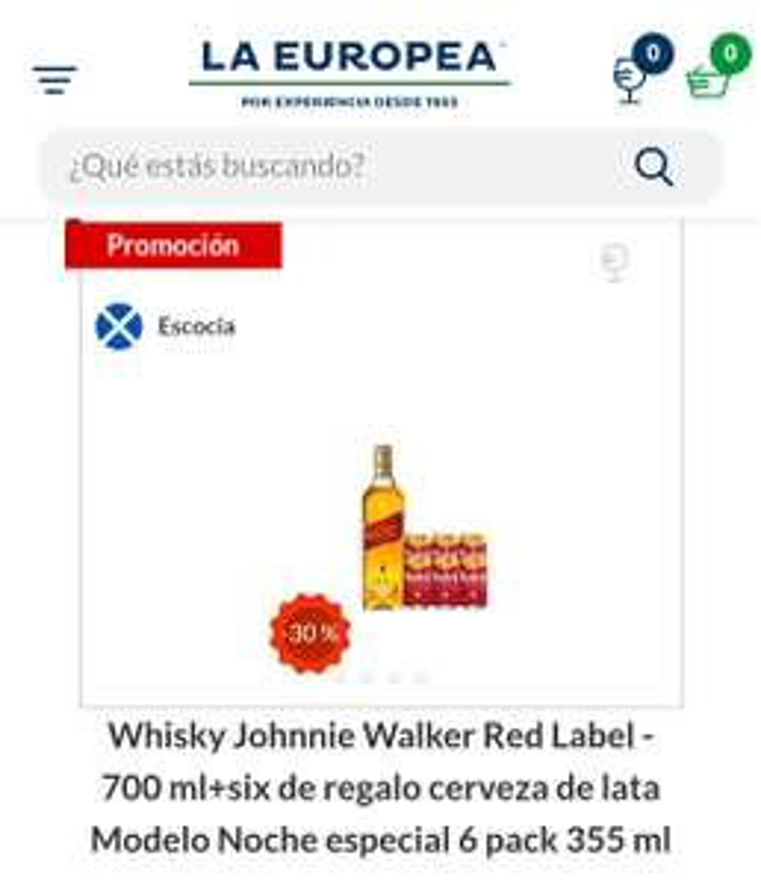 La Europea Whisky Johnnie Walker Red Label - 700 ml+six de regalo cerveza de lata Modelo Noche especial 6 pack 355 ml