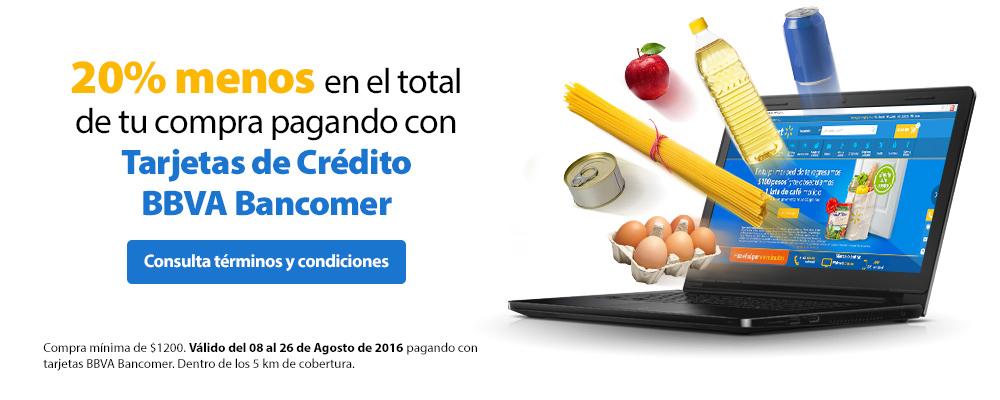 Walmart súper online: 20% de descuento en todo con Bancomer