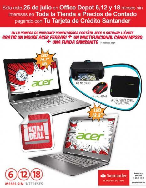 Office Depot: meses sin intereses y regalos comprando computadora con Santander