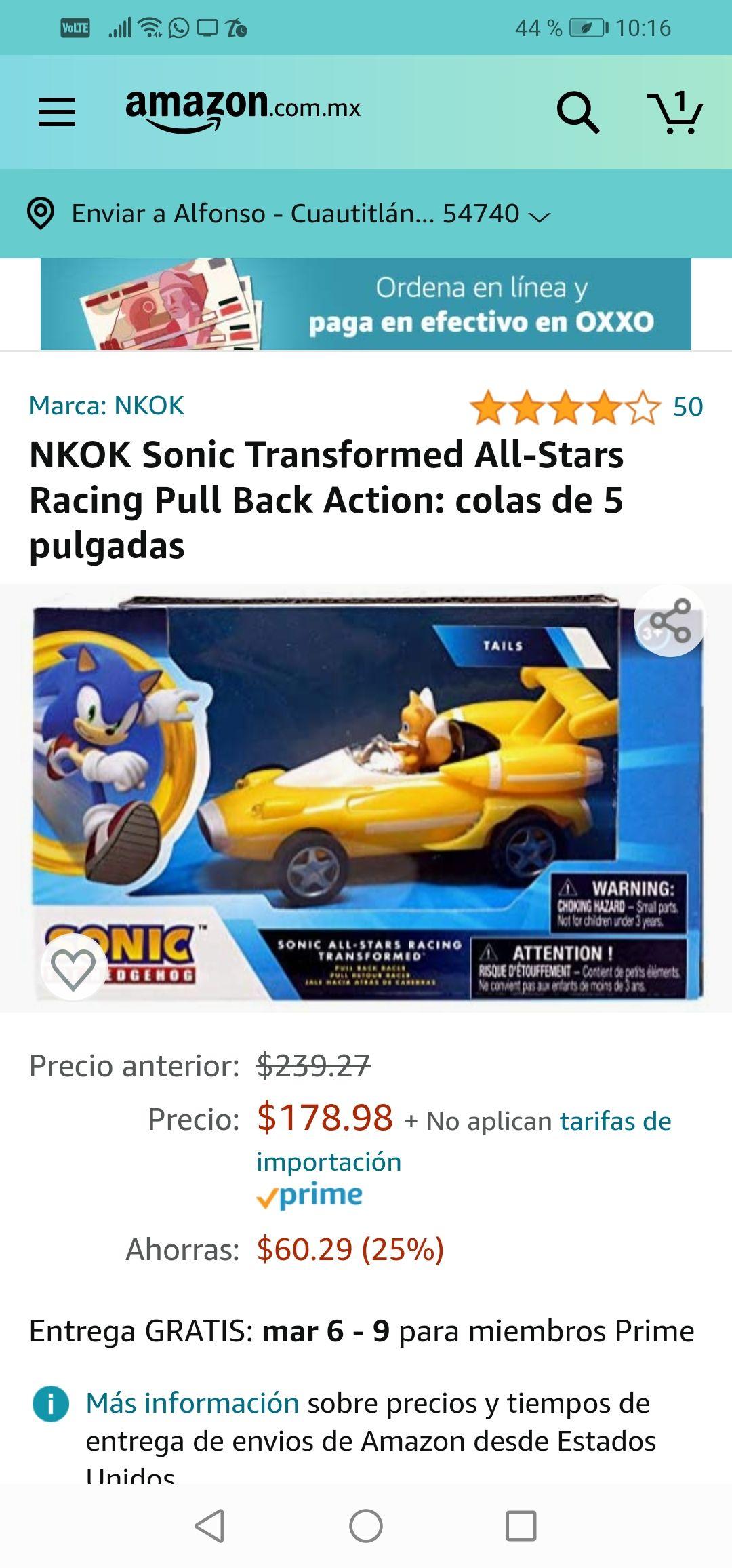 Amazon :NKOK Sonic Transformed All-Stars Racing Pull Back Action: colas de 5 pulgadas