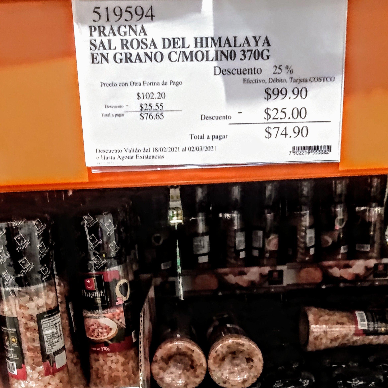 Costco: Pragná, Sal rosa del Himalaya en grano con Molino | 370G