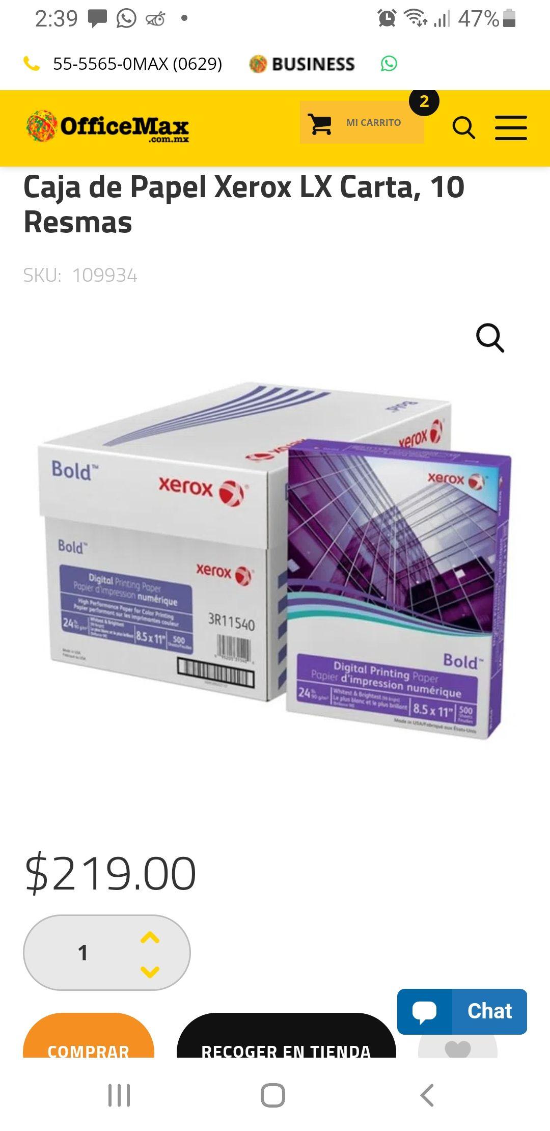 OFFICEMAX: Caja de Papel Xerox LX Carta, 10 Resmas