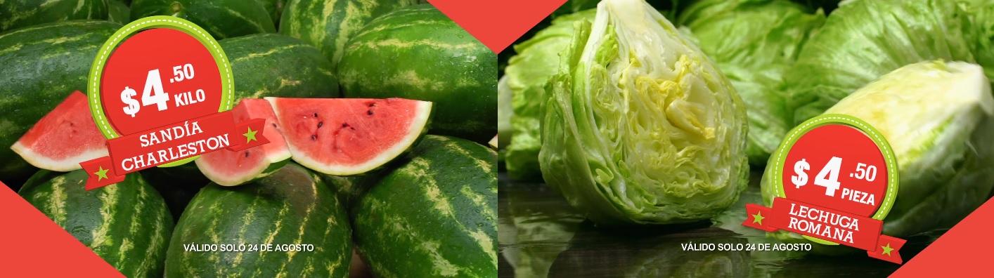 Comercial Mexicana: Hoy es Miercóles 24 de Agosto: Sandía kg. y Lechuga Romana pza. $4.50; Manzana Golden y Chile Poblano $19.80 kg.