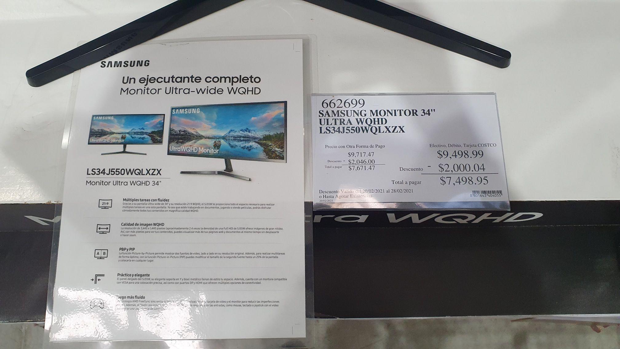 "Costco - Monitor Samsung UltraWQHD 34"" modelo LS34J550WQLXZX"