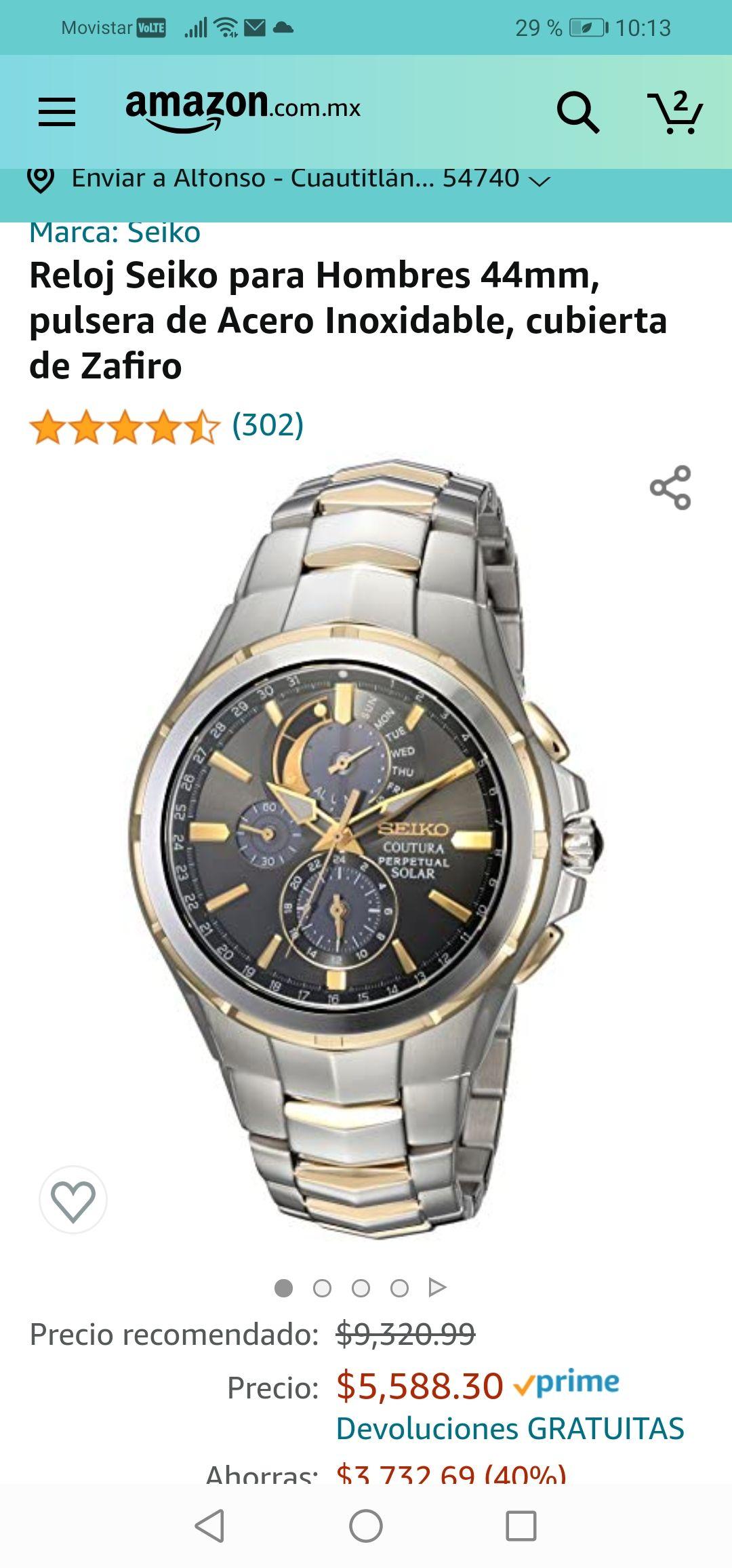 Amazon :Reloj Seiko para Hombres 44mm, pulsera de Acero Inoxidable, cubierta de Zafiro