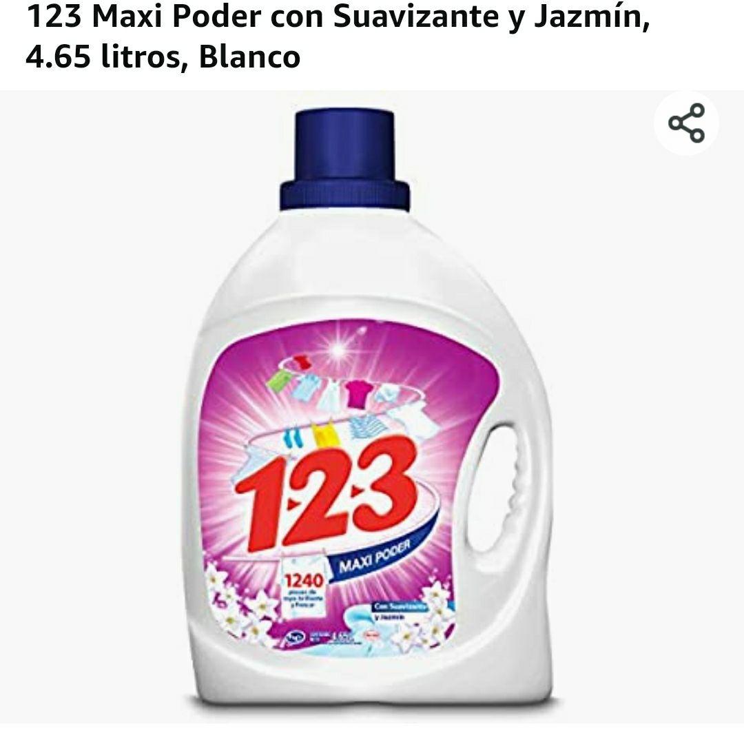 Amazon: 123 Maxi Poder con Suavizante y Jazmín, 4.65 litros, Blanco