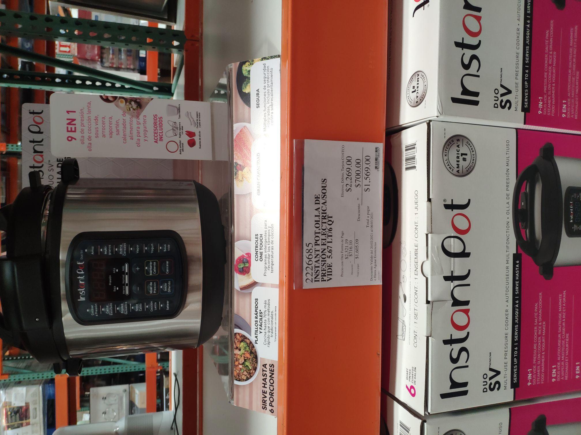 Costco Instant Pot 9 en 1, 6 QT, Sous Vide
