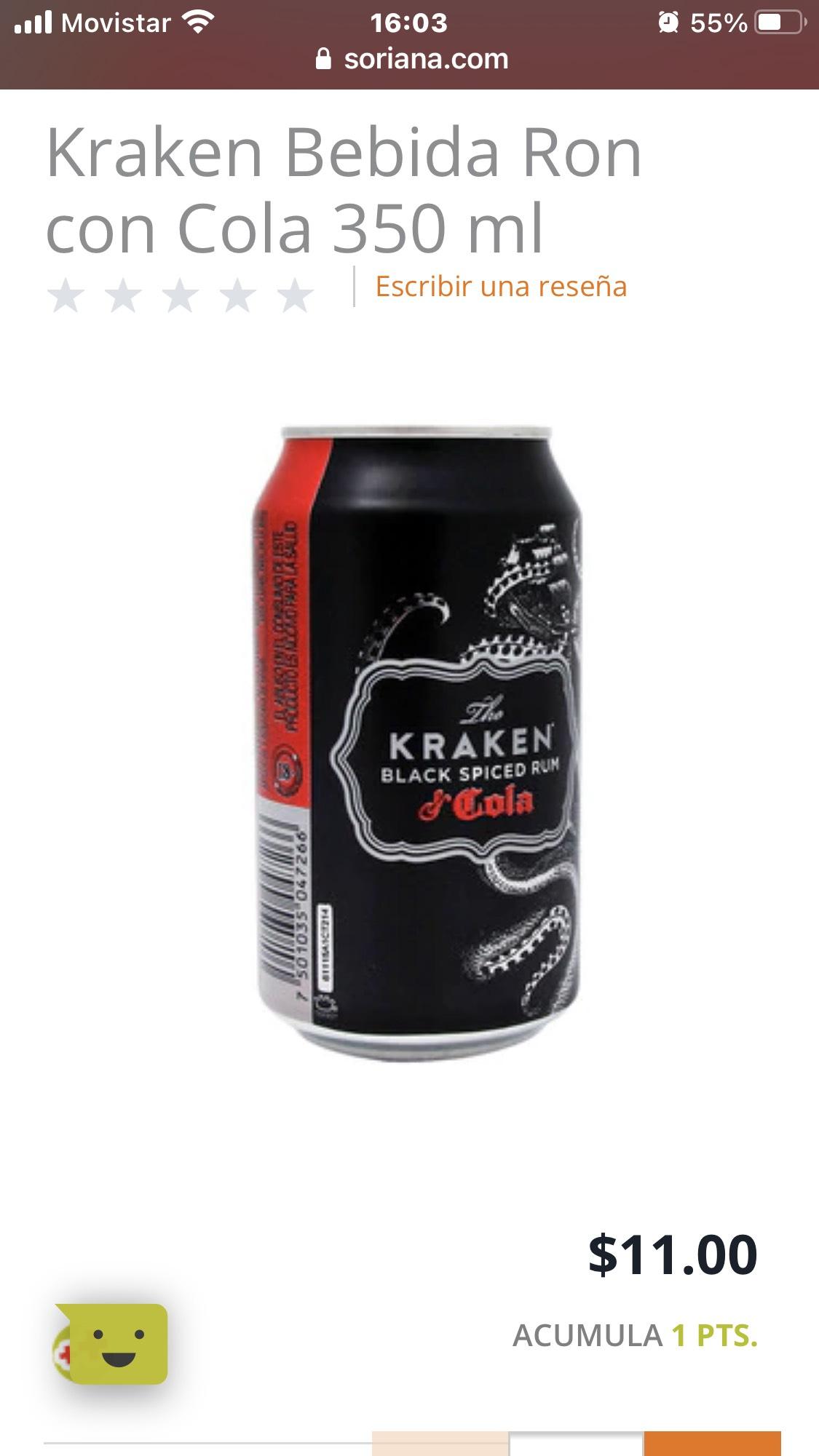 Soriana: Kraken bebida Ron con cola