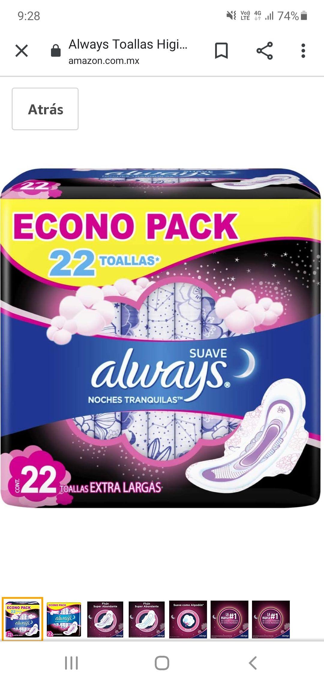Amazon always noches tranquilas suave 22 toallas extra largas ( con planea y ahorra )