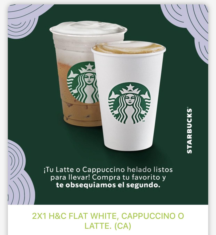 Starbucks: 2x1 en Lattes, Cappuccinos y Flat