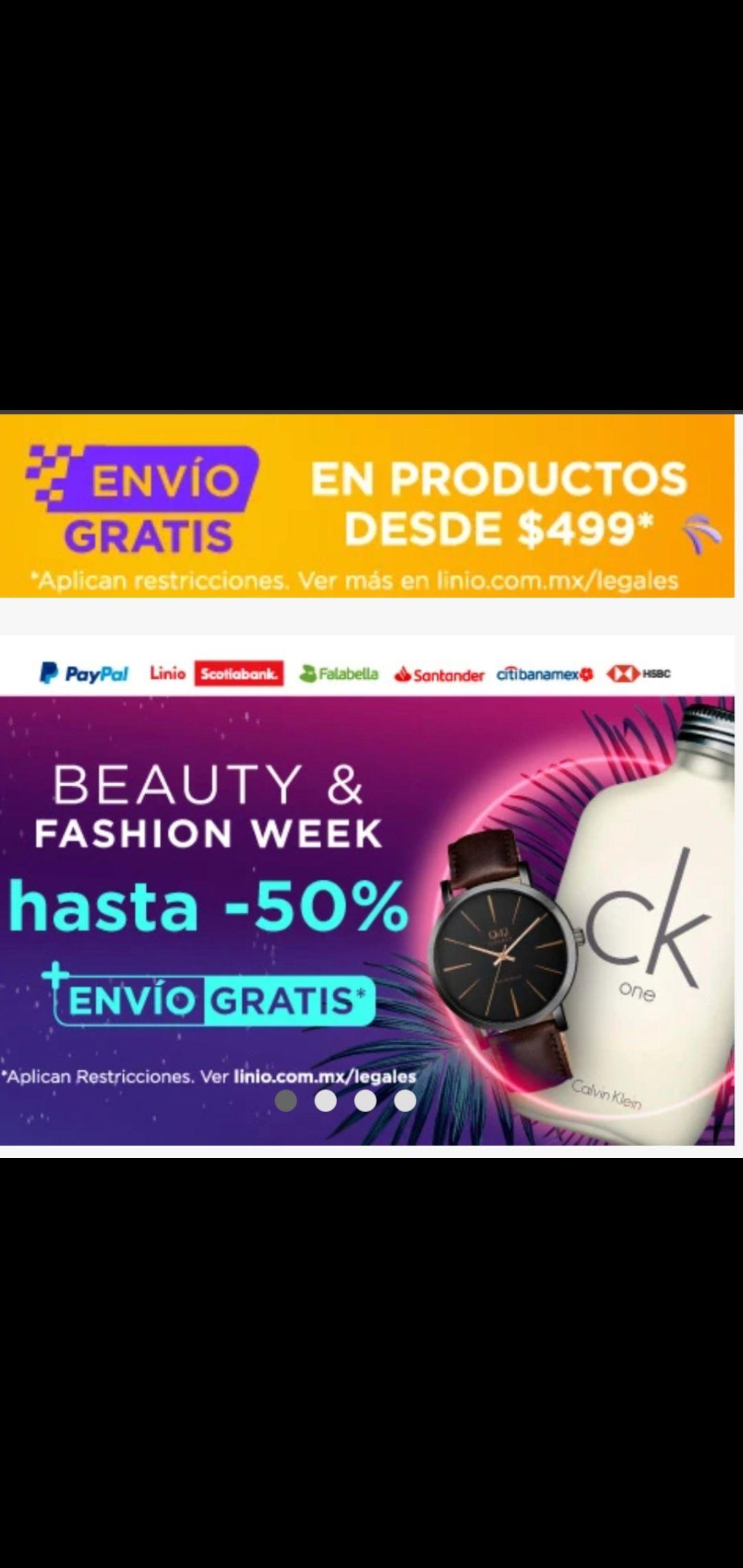 Linio hasta 50% de descuento + envío gratis beauty fashion week