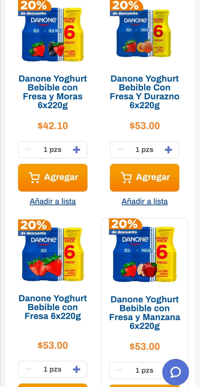 Chedraui: 20% de descuento a partir de 2 piezas de Yoghurt Danone bebible six pack