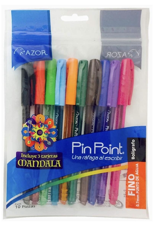Amazon: Azor Pin Point Bolígrafo Punto Fino de 0.7 Mm, Bolsa Com10 Piezas, Colores Surtidos