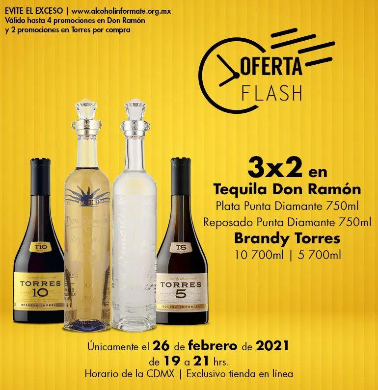 Bodegas Alianza: Oferta Flash 26 Febrero: 3 x 2 en tequilas Don Ramón y brandys Torres seleccionados