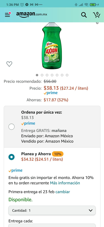 Amazon: Axion Detergente Lavatrastes Liquido Limon, 1400 ml