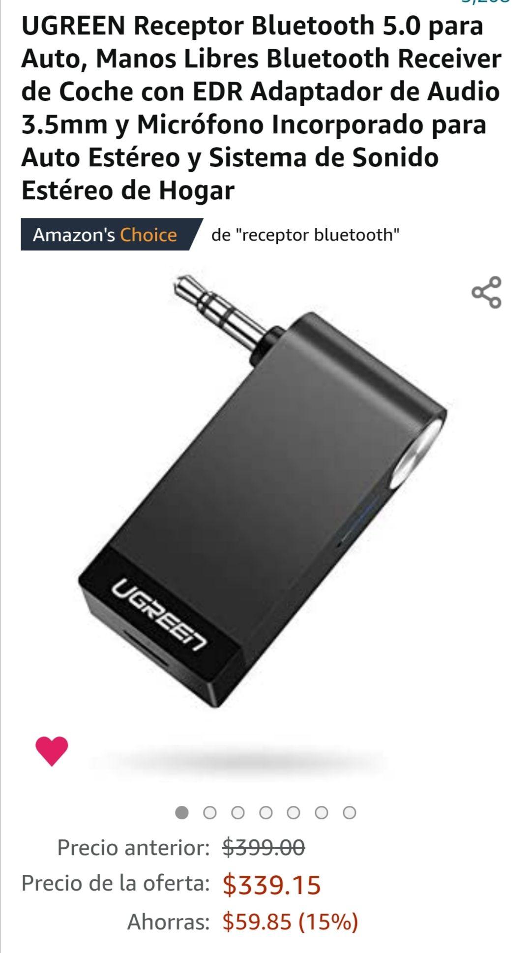 Amazon: Receptor Bluetooth 5.0 de 3.5mm para auto o estéreo (oferta relámpago)