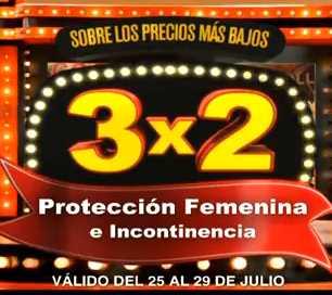 Julio Regalado julio 25: 3x2 en protección femenina e incontinencia