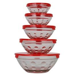 Almacenes Ánfora: Juego de 5 tazones de vidrio con tapa