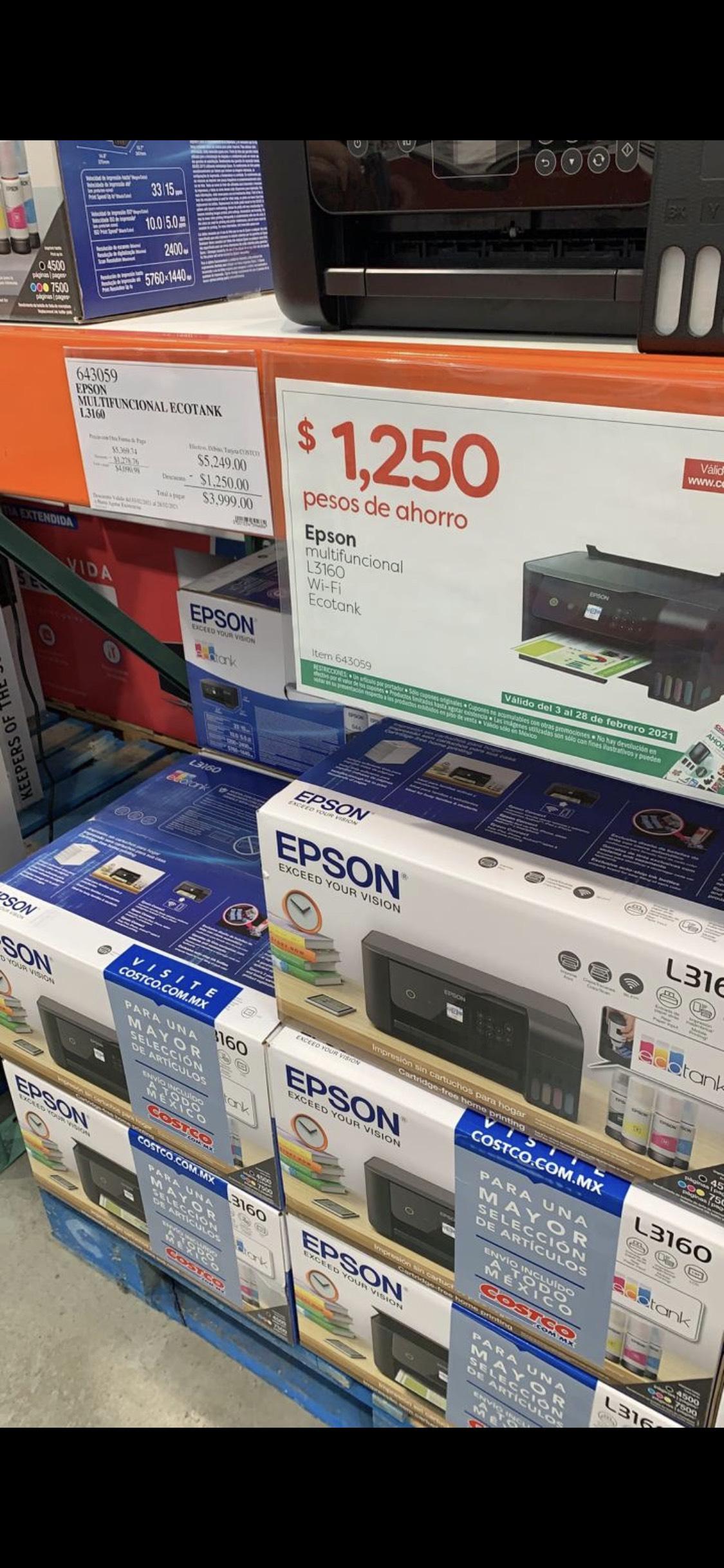 Impresora Epson L3160 en $3,999 en Costco tienda