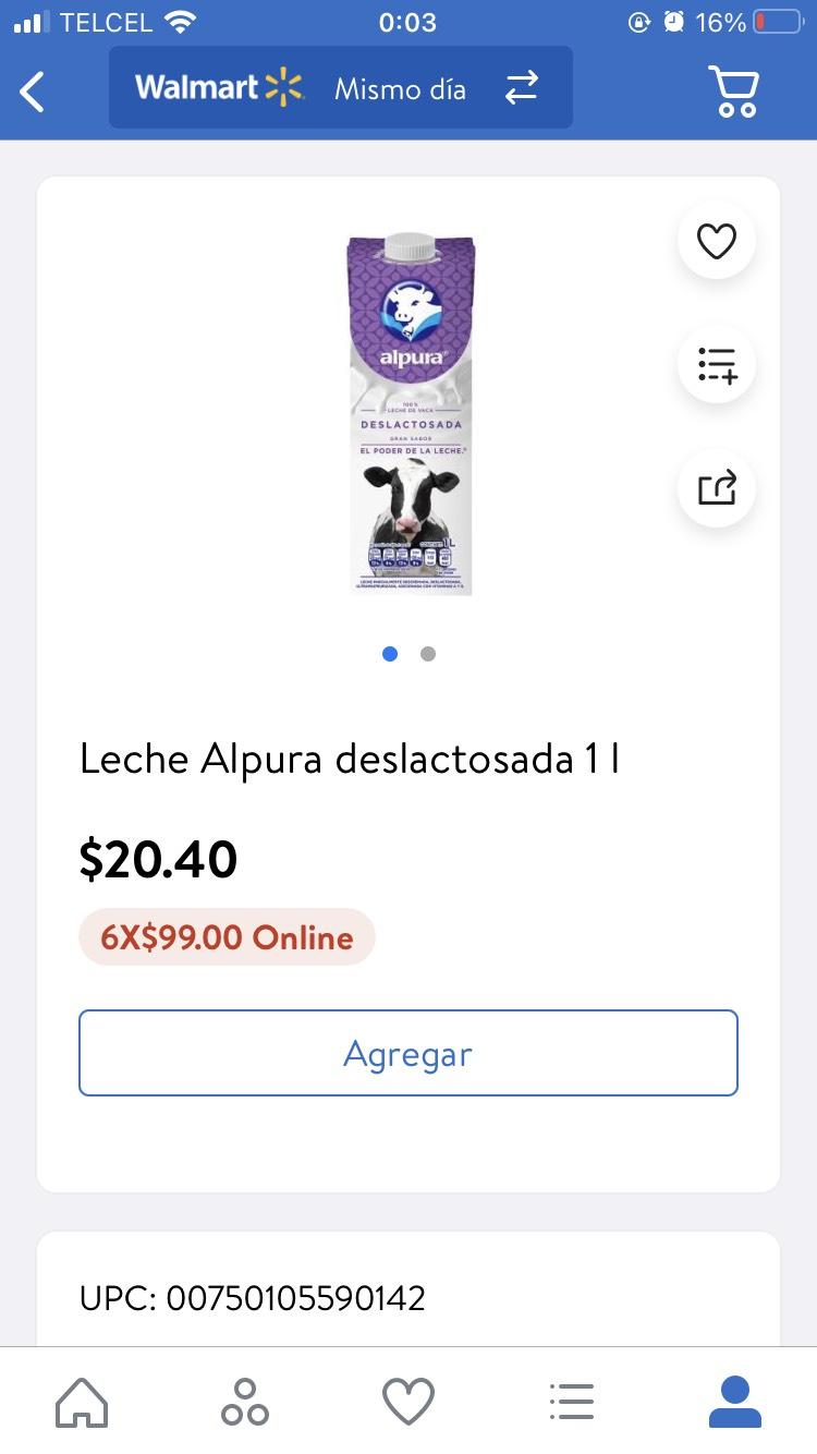Walmart: Leche Alpura deslactosada 1L (6x$99)