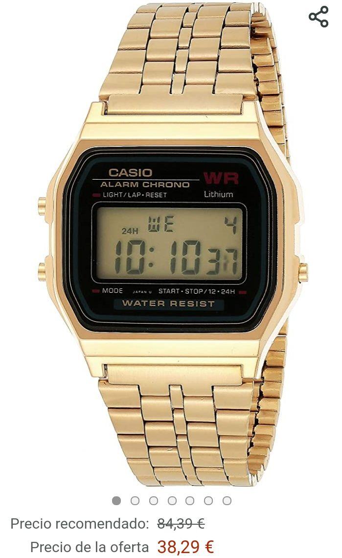 Amazon: Reloj Casio A159WGEA-1EF (El de correa completamente dorada)