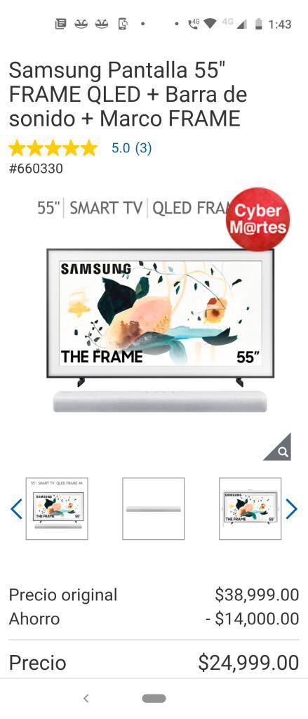 """Costco : Pantalla Samsung Qled Frame 55""""+ Barra de Sonido+ Marco Frame"""