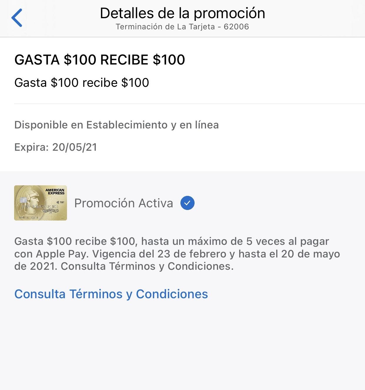 Todas las tarjetas American Express, Hasta $500, al usar Apple Pay
