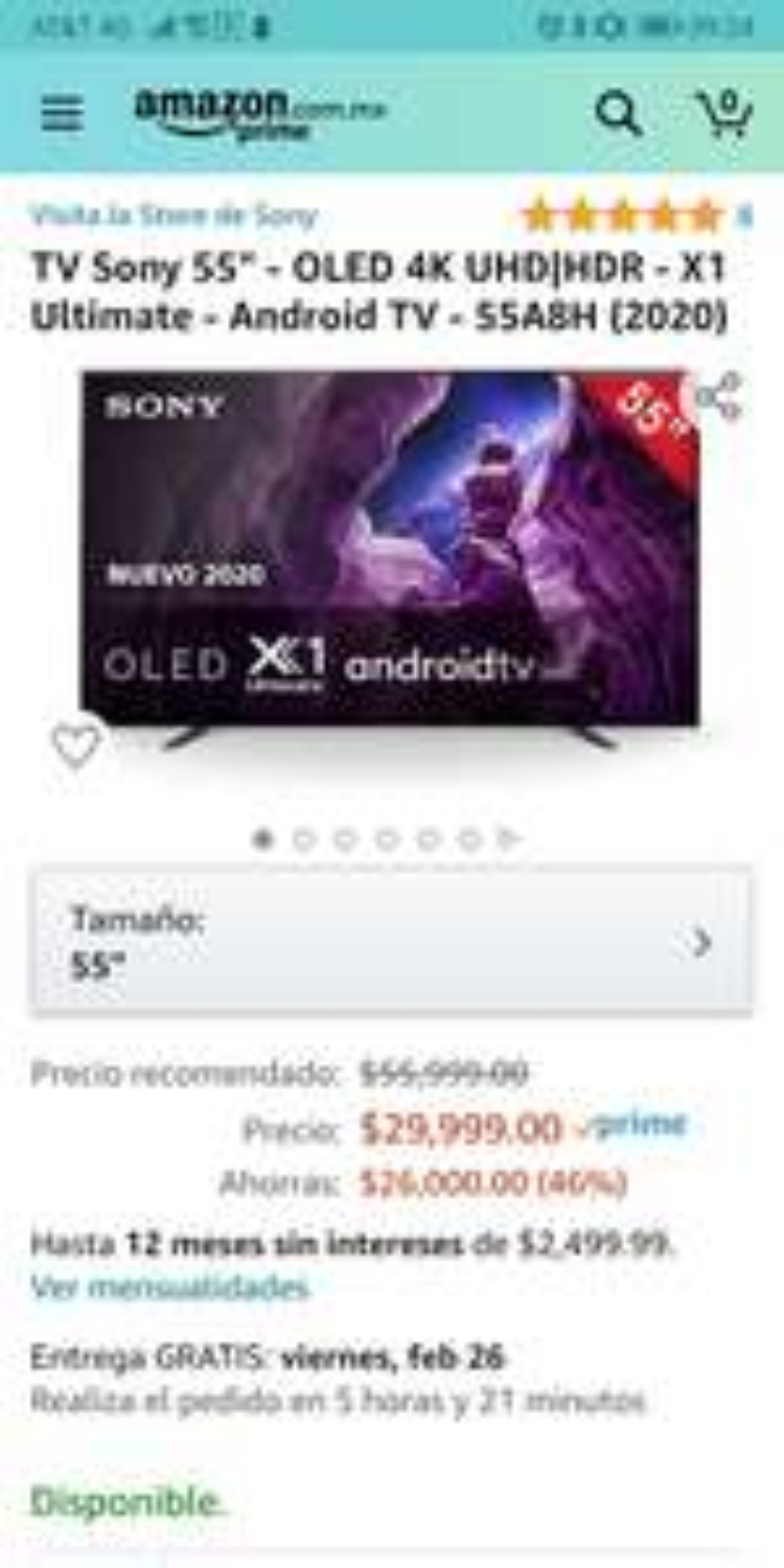 Amazon Sony oled 55A8H 2020