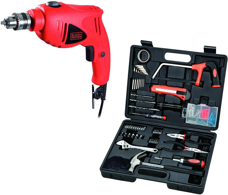 Amazon Taladro percutor B&D 550W, broquero 3/8 más set de 107 accesorios (herramientas)