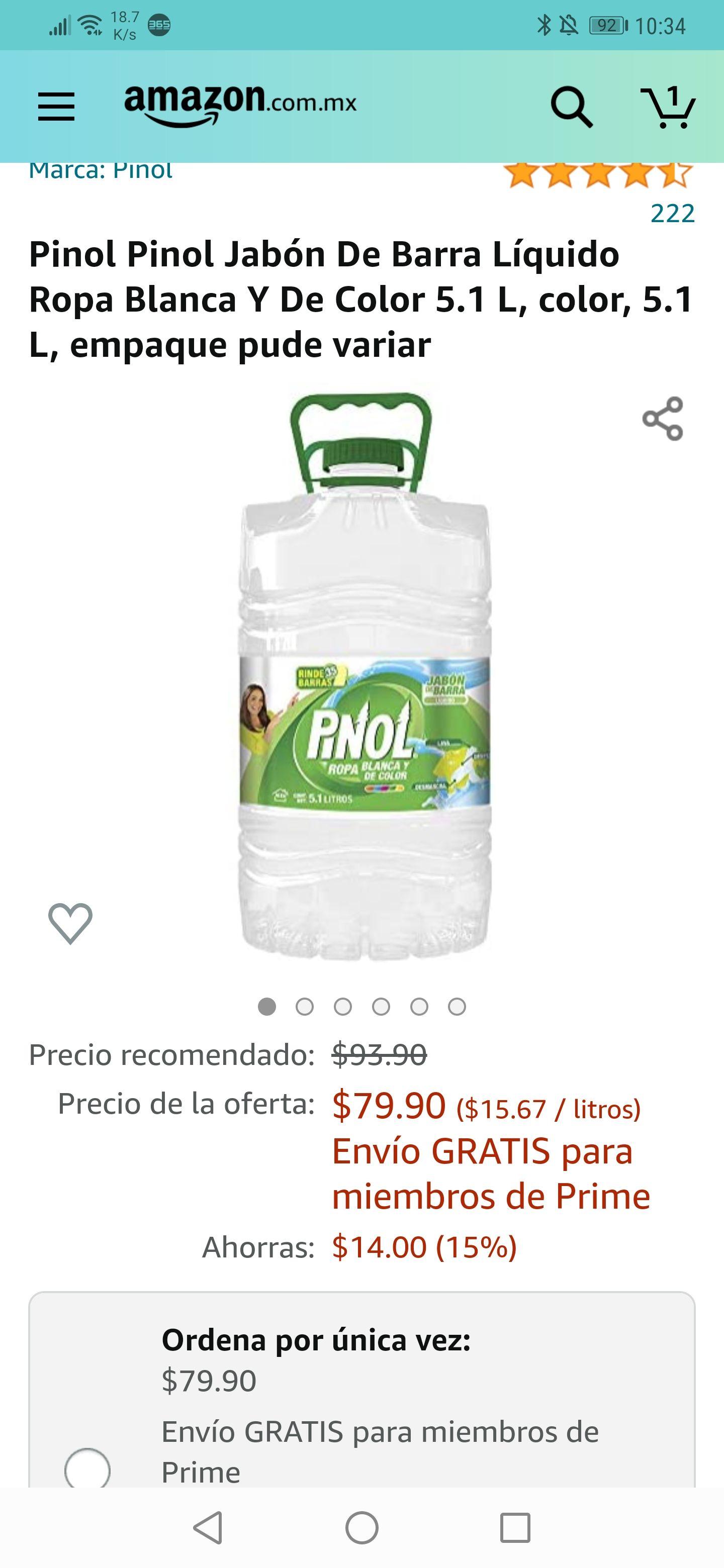Amazon: Pinol Pinol Jabón De Barra Líquido Ropa Blanca Y De Color 5.1 L