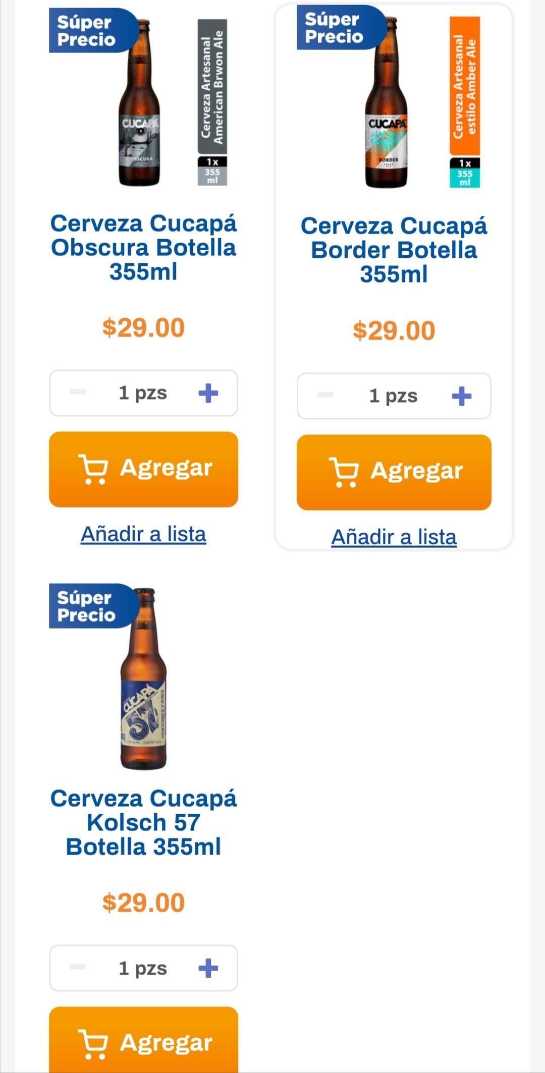 Chedraui: Cerveza Cucapá Border, Obscura ó Kolsch 355 ml. 6 x $100 ($16.67 c/u)