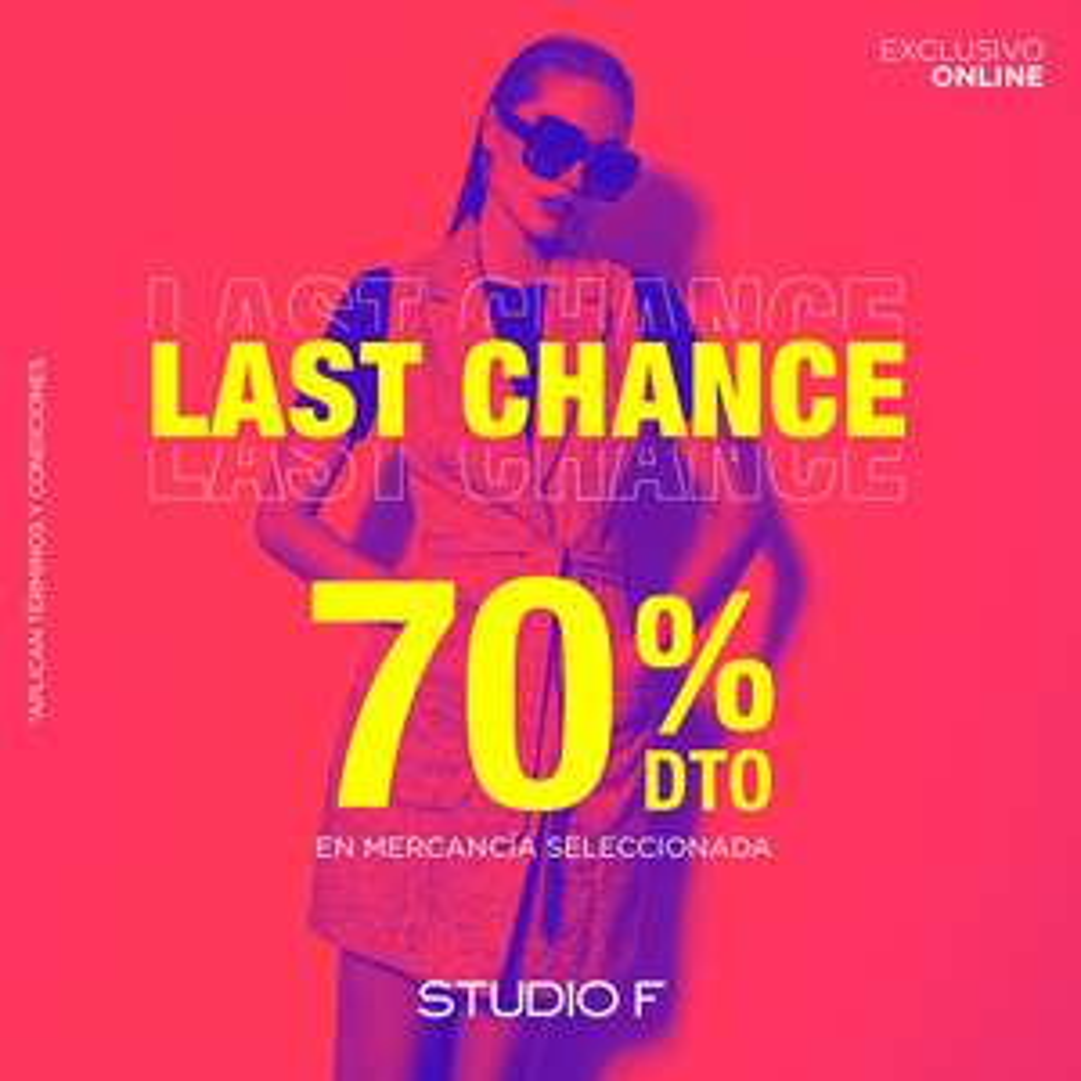 Last Chance Studio F: 70% de descuento en mercancía seleccionada hoy