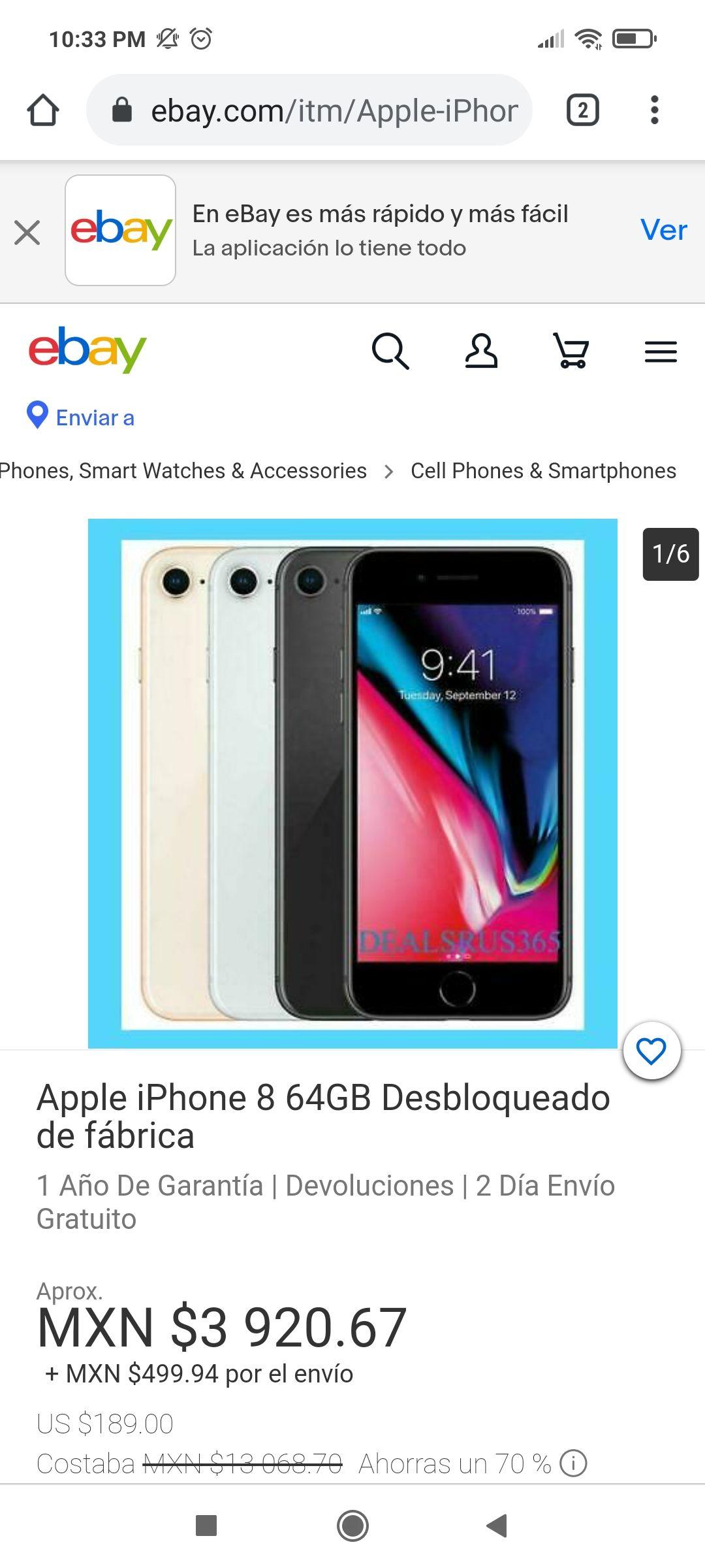 ebay: iPhone 8 64GB renewed